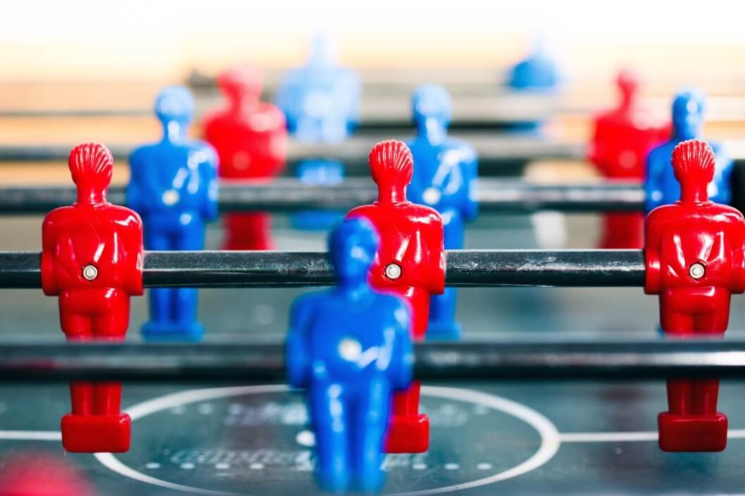 Table Football Game Sport Competition Two Competitors Players On Field Closeup Of Players T20 Ywg70x 1